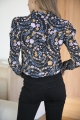 Le Gang - SeeByChloe - Blouse Imprimée Floral noire - photo produit porté de profil