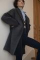Le Gang - IRO - Manteau Wire Noir - photo produit porté de face
