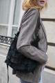 Le Gang - Barbara Bui - Sac noir en daim - photo produit porté de face
