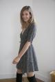 Le Gang - Arket - Robe Floral Wrap Dress Black - photo produit porté de face
