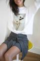 Le Gang - Calvin Klein - Pull White Flower - photo produit porté de face