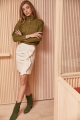 Le Gang - Soeur - Chemise Edna Khaki - photo produit porté de face
