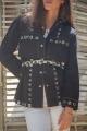 Le Gang - Laurence Bras - Chemise Safra Noire - photo produit porté de face