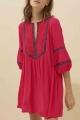 Le Gang - Ba&sh - Robe Cale Rouge - photo produit porté de face
