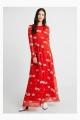 Le Gang - Ivy & Oak - Robe Rouge à Fleurs - photo produit porté de face