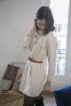 Le Gang - Isabel Marant - Robe Chemise Ecru - photo produit porté de face