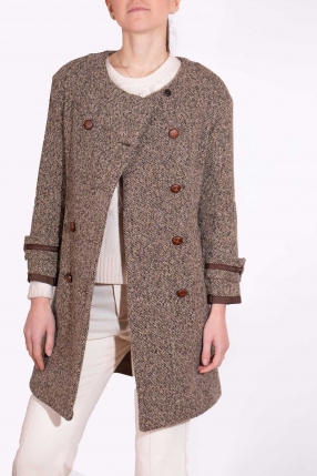 Manteau Tweed Marron - SANDRO - Le gang